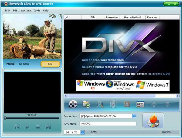 3herosoft DivX to DVD Burner 3.6.4 Build 0831 Portable